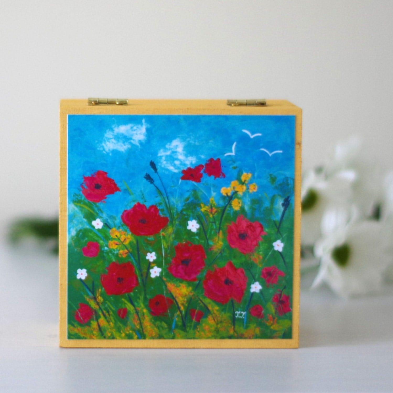 Poppy Jewellery Box Yellow Wooden Box Floral Storage Box Red Flowers Decorative Box Hand Painted Jewellery Box Artwork Wooden Box