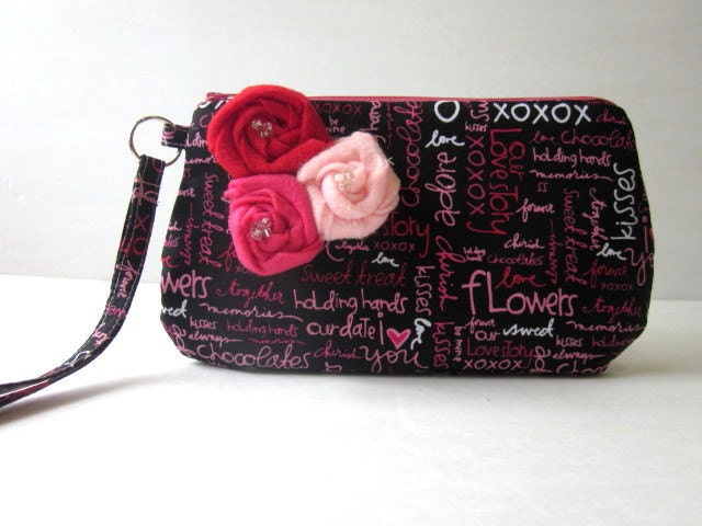 Handmade wristlet Love, hugs, kisses and chocolates