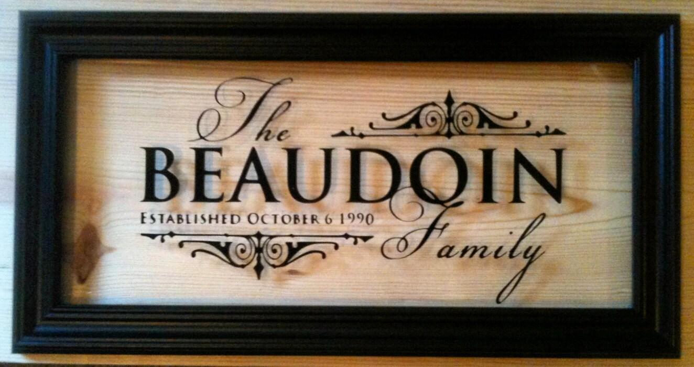 Custom Personalized Family Name Vinyl Glass Frame By