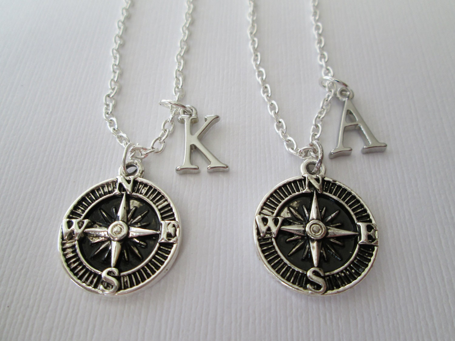 2 compass initial best friend necklaces by hazelsarai on etsy