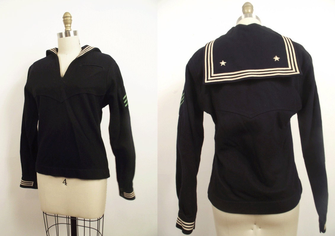 1970s Sailor Top / Navy Military Uniform / Nautical