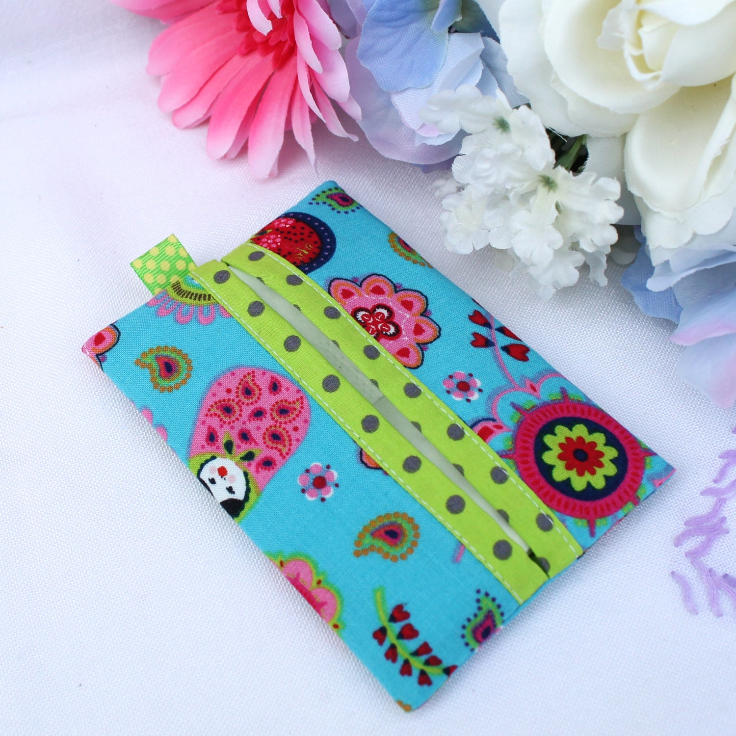 Pocket tissue holder Kleenex case  Russian Doll matryoshka  turquoise red lime green
