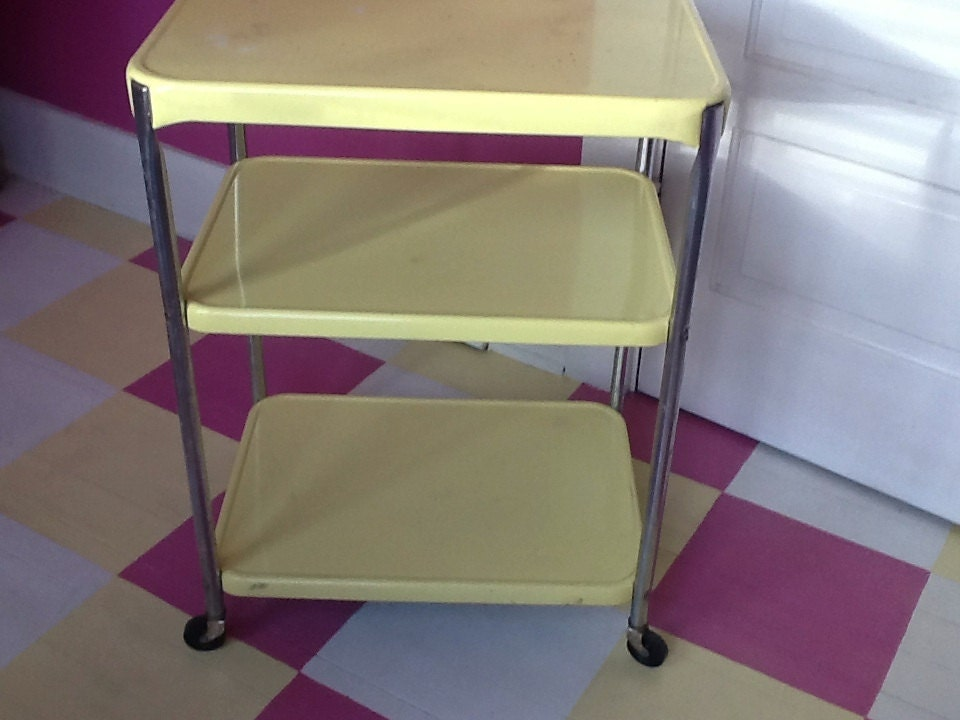 vintage yellow and chrome 1950s kitchen cart by thepuppydogtails