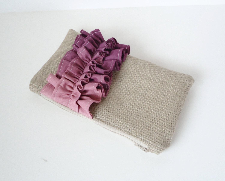 Purple Ombre Linen Burlap Ruffle Clutch - Lavender Bag - Ombre Wedding - Plum Wedding - JuneberryStitches