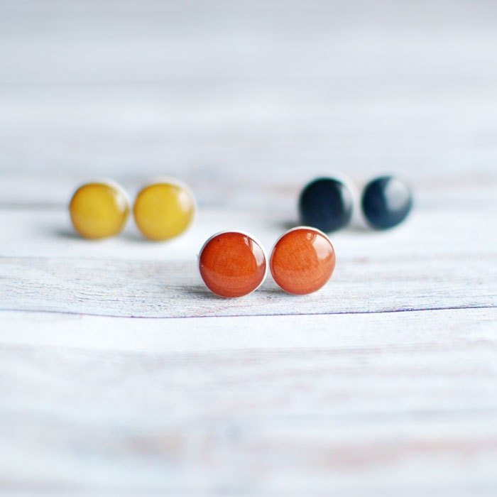 Stud Earrings - three pairs petite everyday studs, mustard yellow, navy blue, chestnut brown- everyday jewelry - Goodthings88