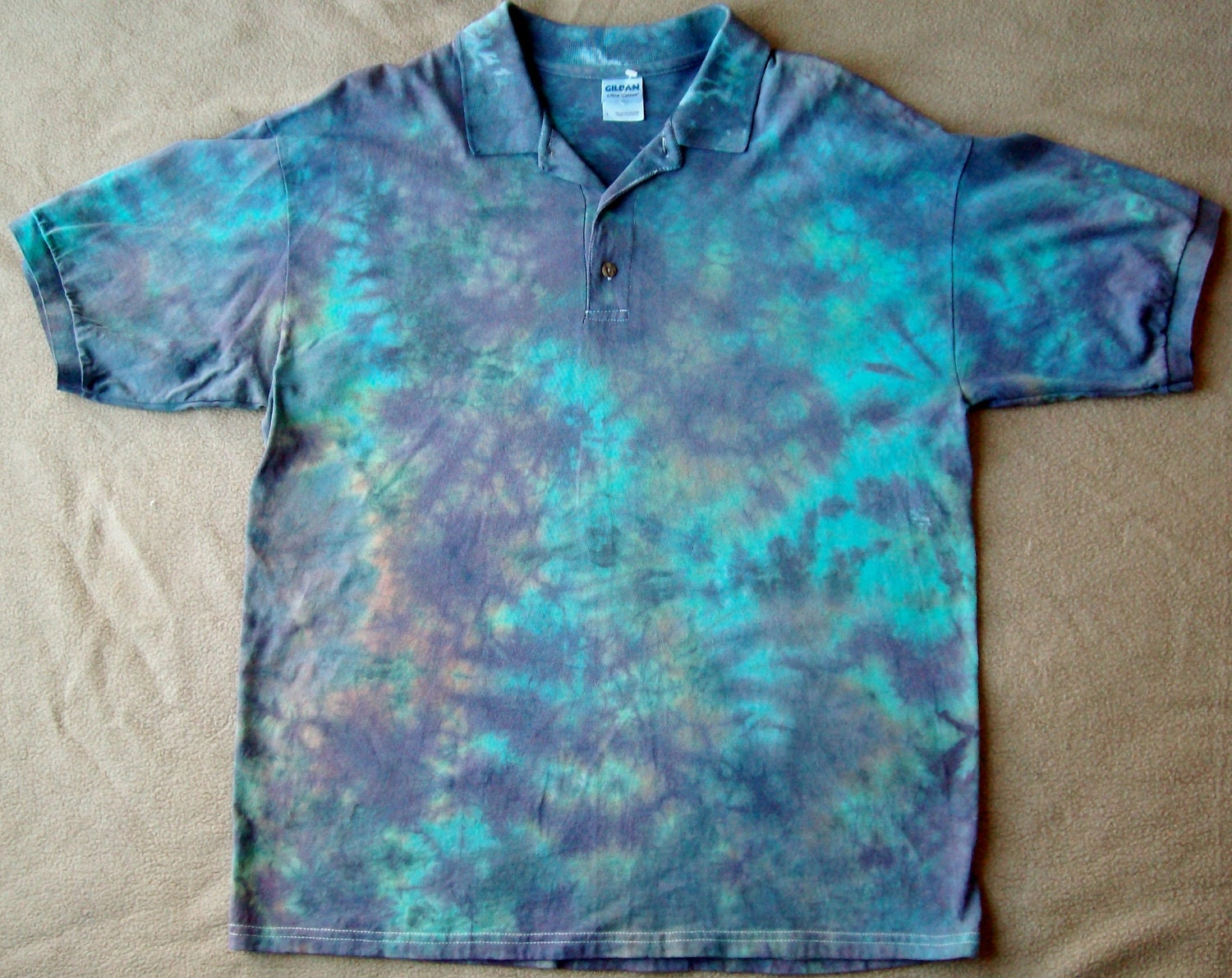 tie dye polo golf shirt large by thetiedyebohemian on etsy