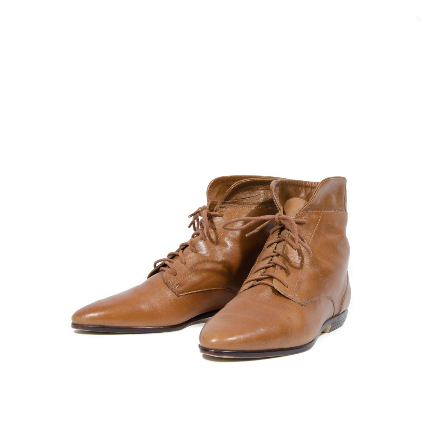 caramel brown pixie lace up ankle boots fold by