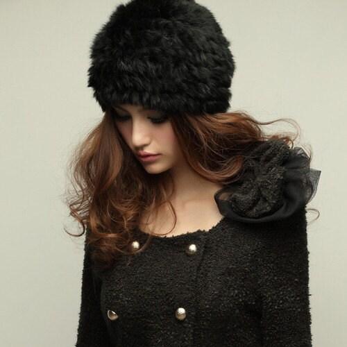 Fashion Women real RABBIT Fur Hat lady Knit Beanie Cap Black Winter Gift
