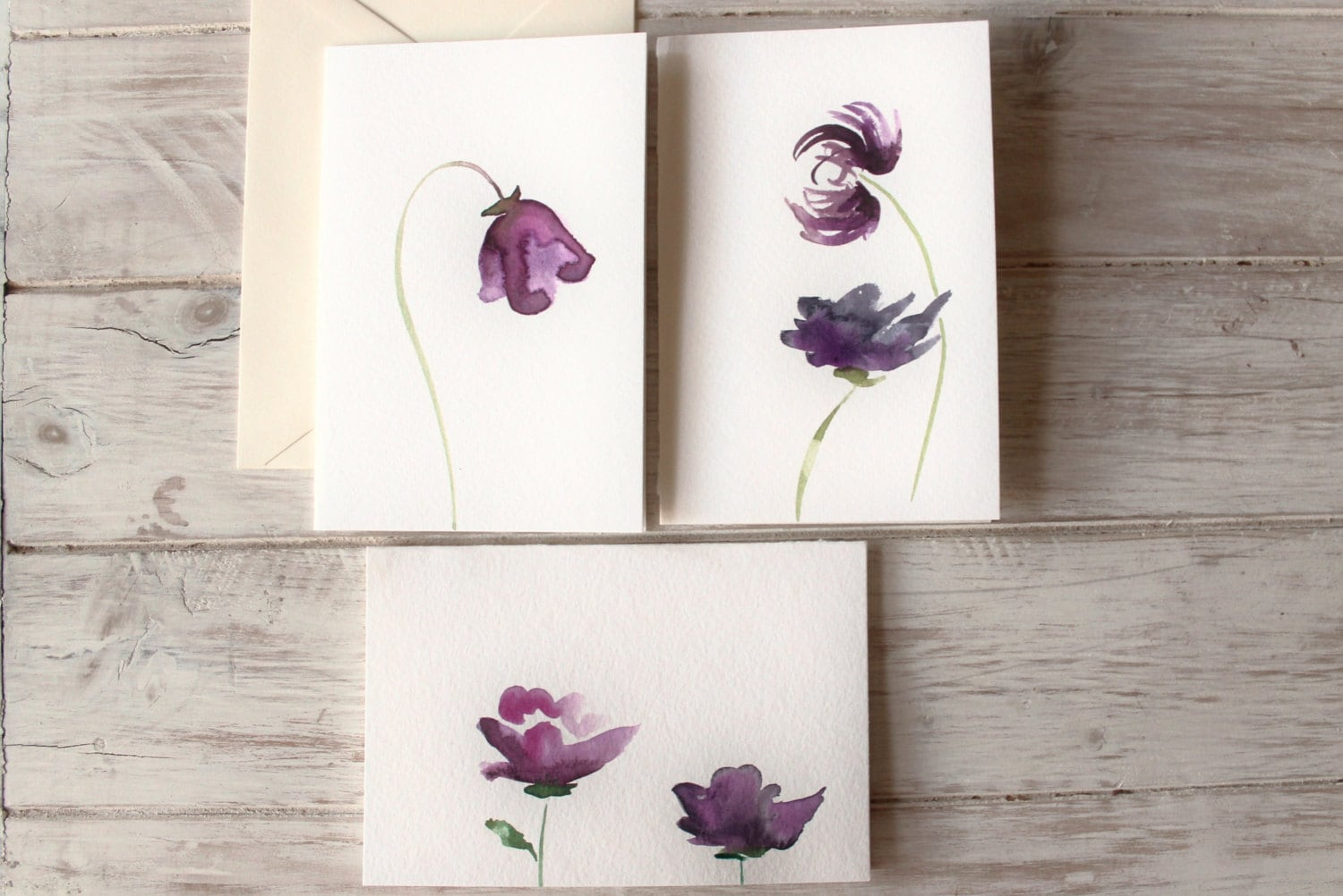 Watercolor Greeting Cards Birthday Cards Purple Flowers Set of 3 // handpainted original watercolor stationery - AnnikaLikes