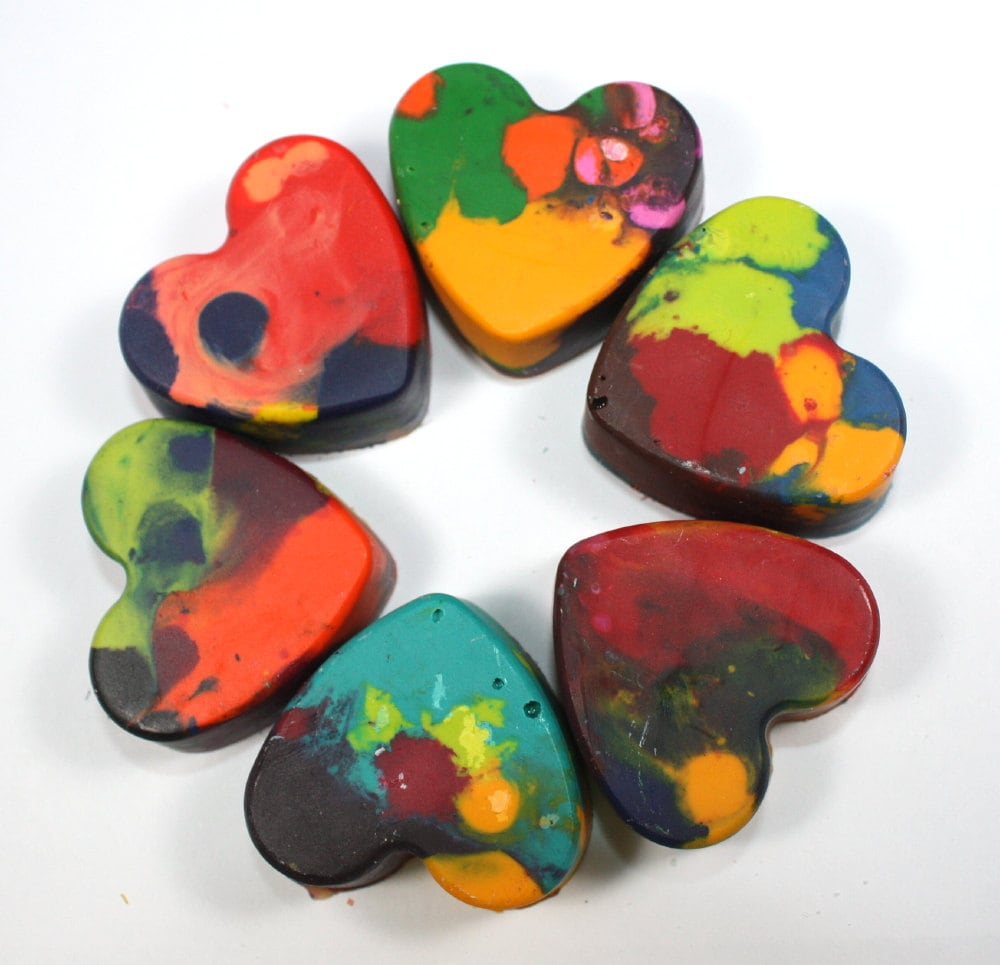 6 Recycled Heart-Shaped Crayons - mixed colors - party favor, reuse, repurpose, school supply, valentines day, toddler, pre-school - WizardAtWork