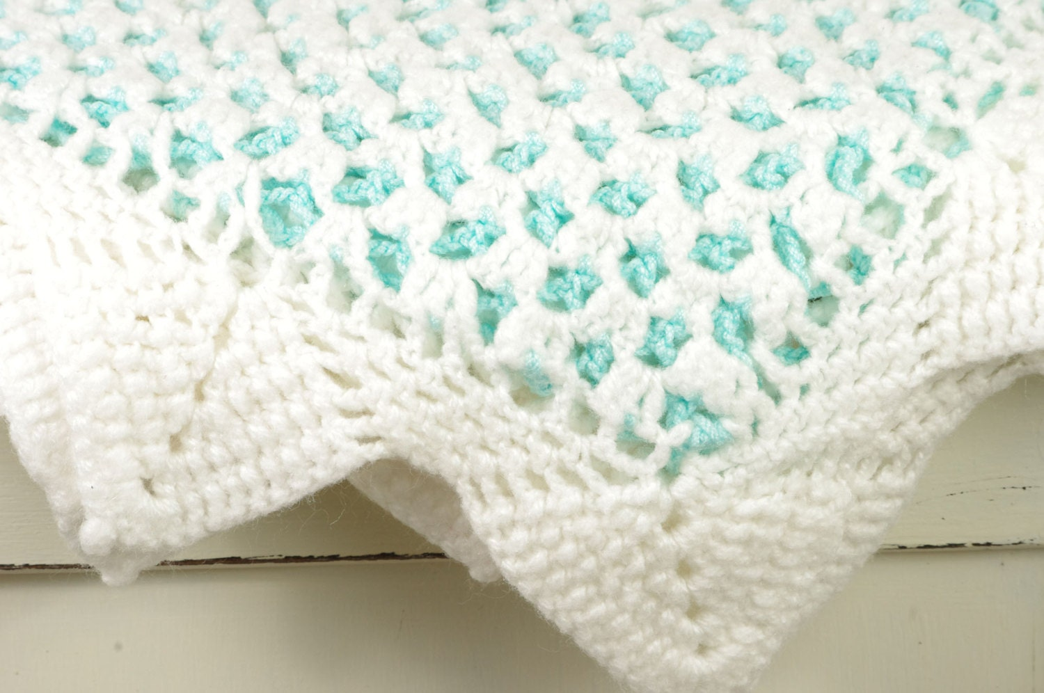 Vintage White and Aqua Blue Crocheted Blanket- Perfect for a Nursery or Newborn Photos