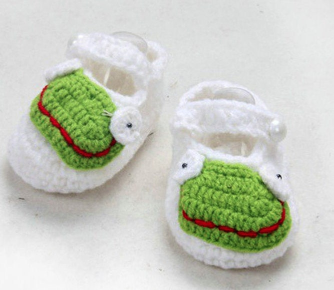 Smiley Frog  Crochet Knit Socks Slipper Shoes