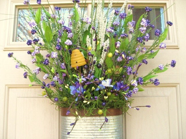 Spring wreath spring garden floral arrangement by Spring flower arrangements for front door