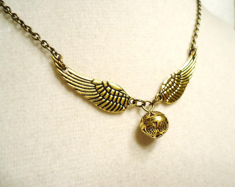 Harry Potter Snitch Necklace - Steampunk Keepsake - Ornate Snitch Pendant