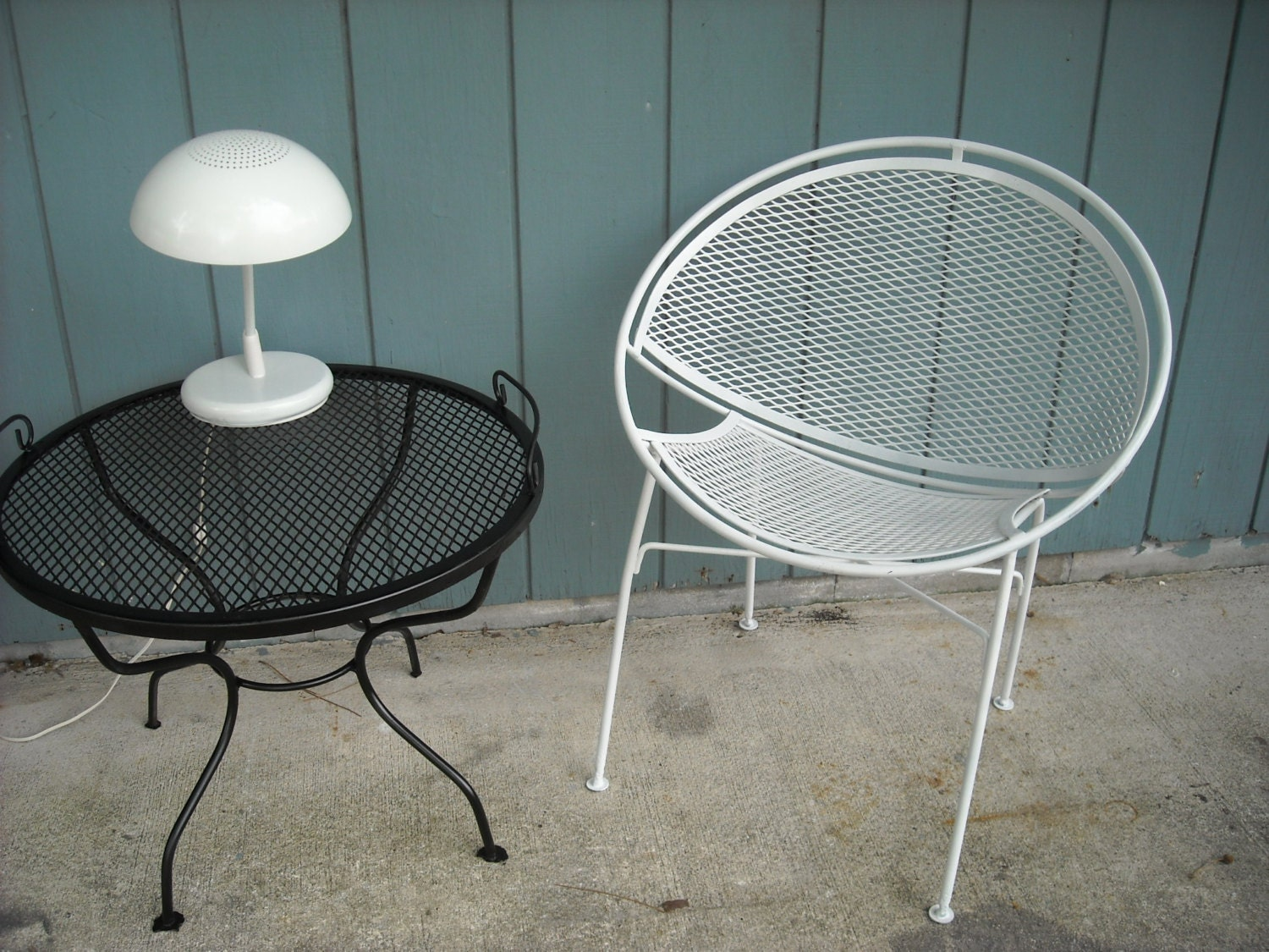 Salterini White Mesh Orb Patio Chair Iron Clam by ZeeJunkHunter