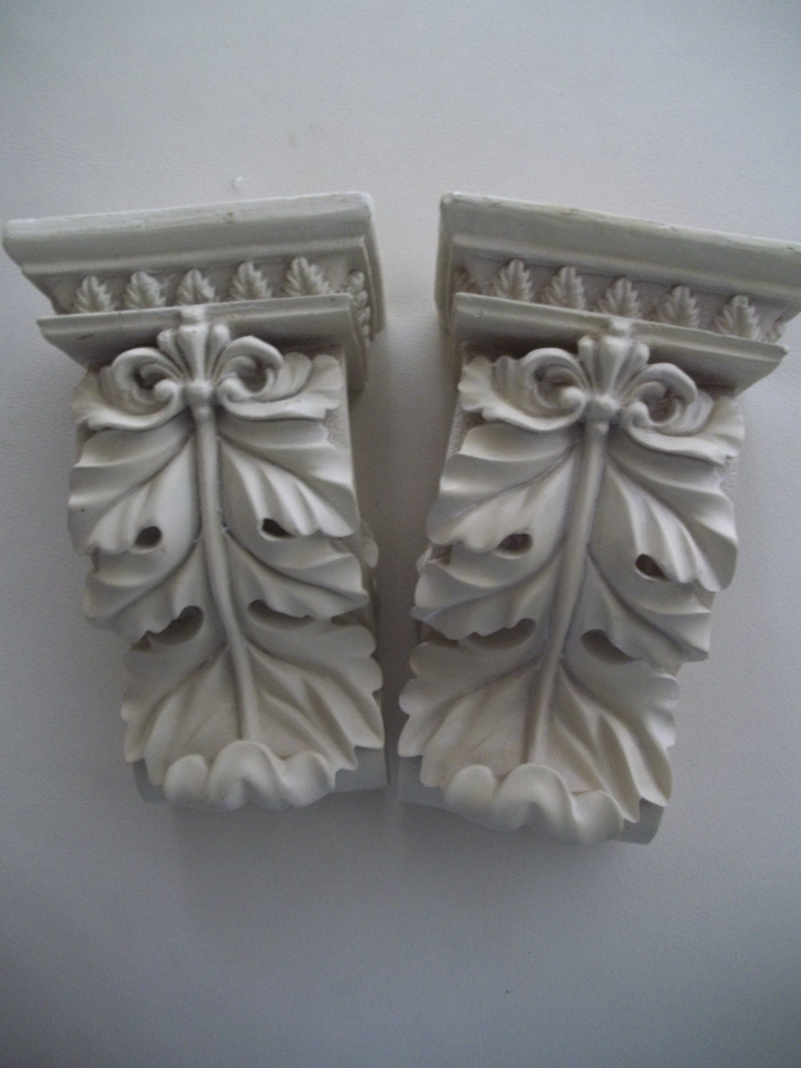 Pair Curtain Rod Holders Decoupage Shabby Chic by TreasureCache