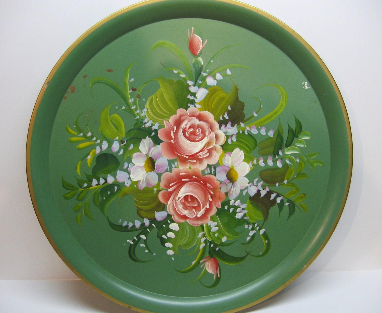 Vintage Garden Rose Metal Tray Black Pink Blue Green and Orange