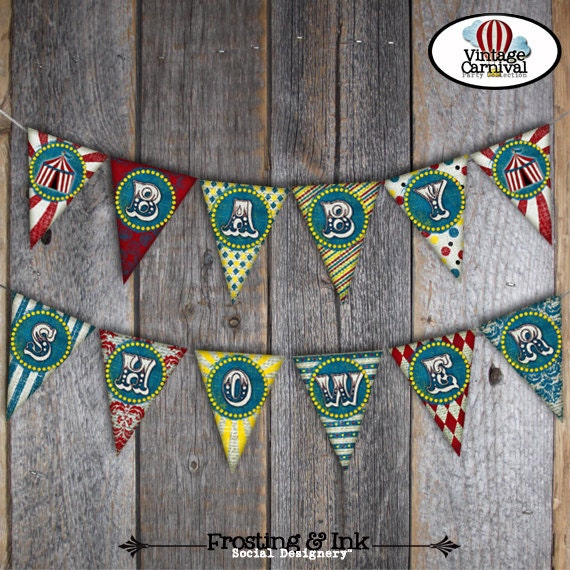 carnival baby shower circus baby shower bunting banner