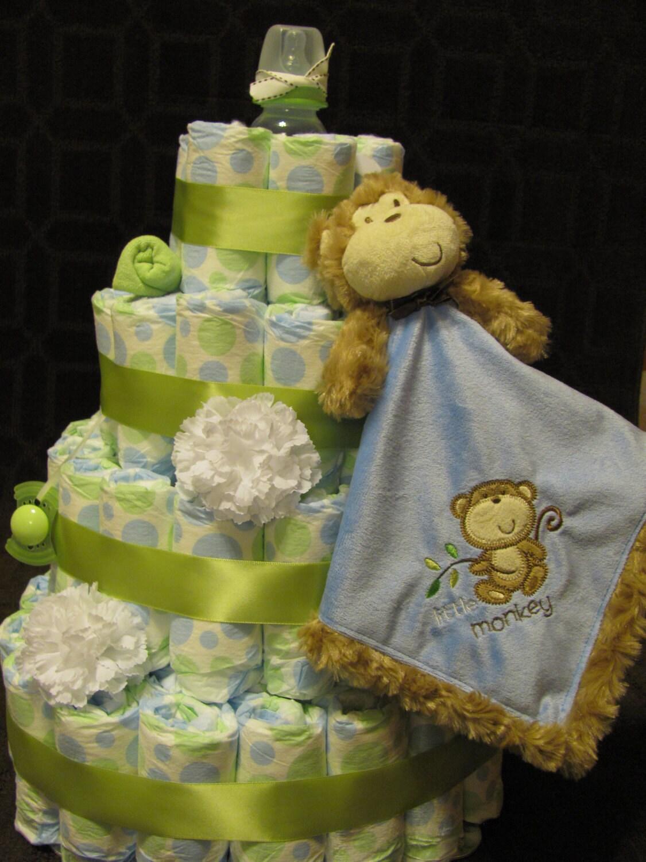 Reserved baby boy monkey diaper cake baby by elegantpartyplans - Monkey baby shower cakes for boys ...