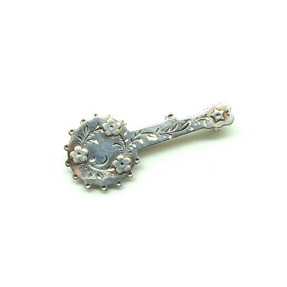 Victorian 1851 Antique Silver Banjo Brooch  Silver Brooch  Banjo Brooch  Ornate brooch  Antique Pin   Victorian Pin  Silver Pin