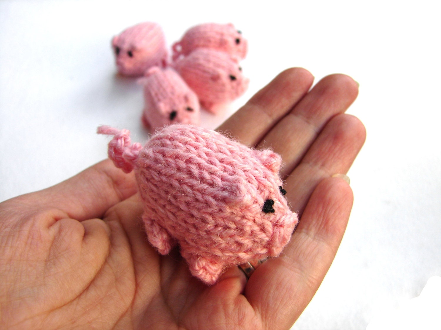 Pink piggy knitted baby toy, 3 little pigs stuffed toy - TinyOrchids