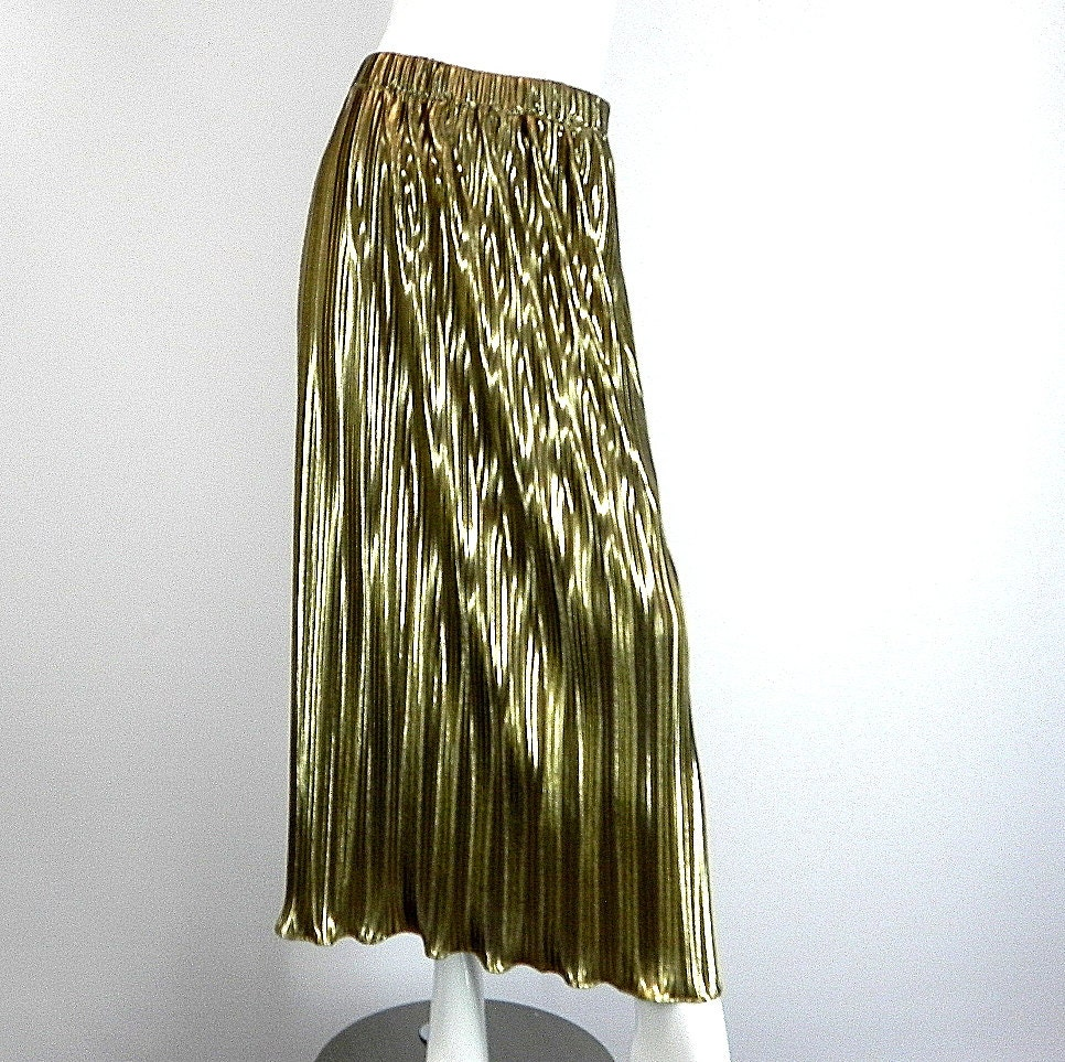 gold lame pleated skirt jacket vintage by