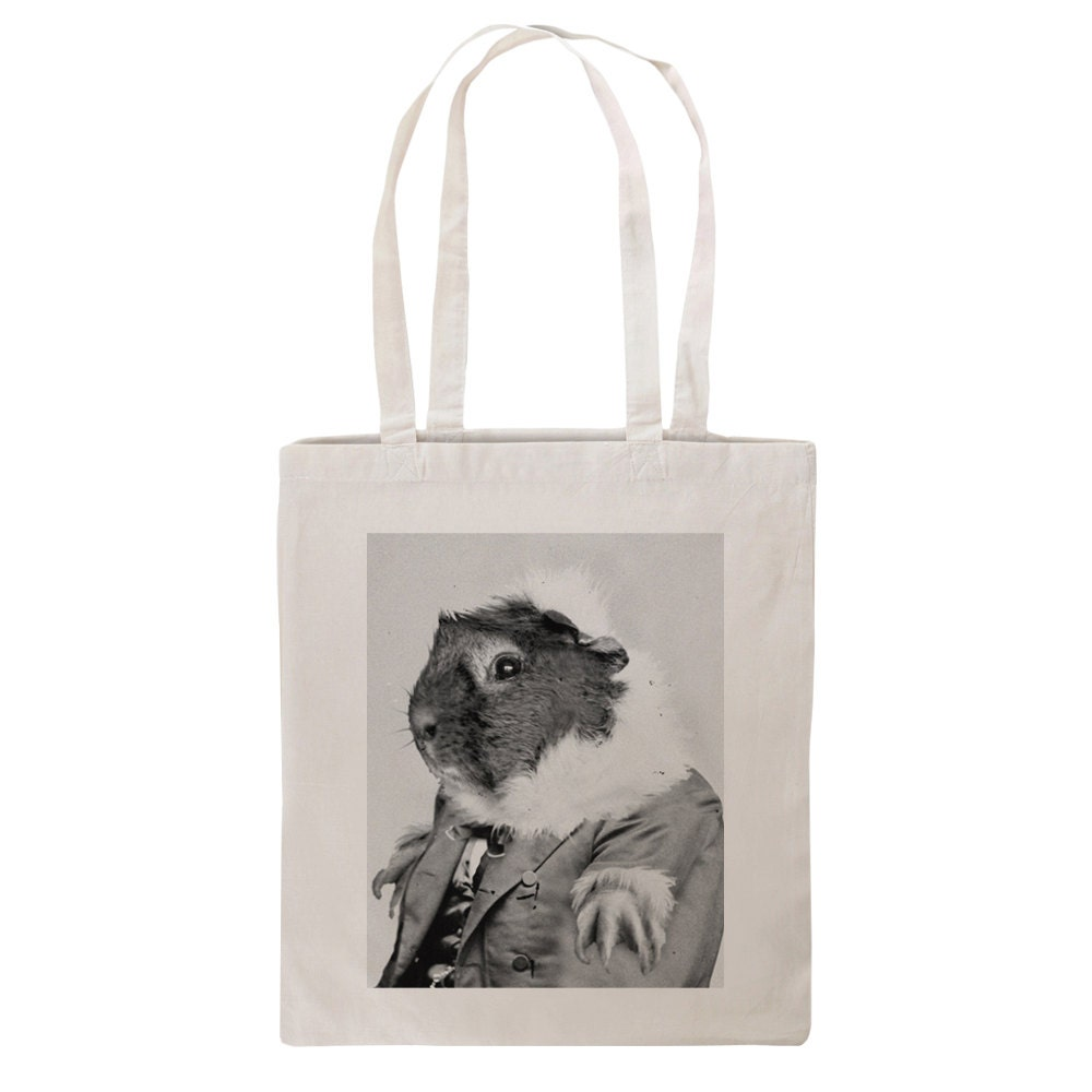 Guinea Pig Tote Bag Vintage Cute Piggy Holdall Cotton Downton Design Animal Photo In Suit Funny Bags Art