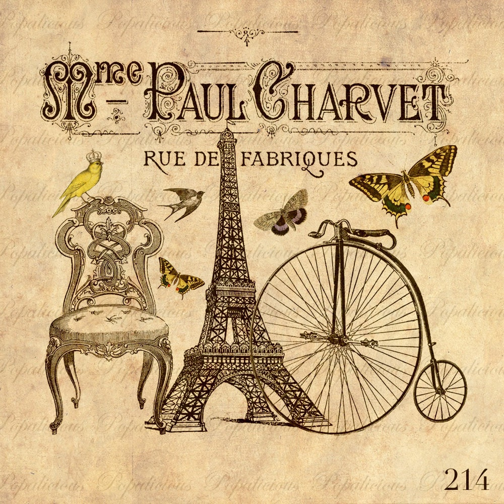 Vintage Style Paris Collage With Eiffel Tower Chair By