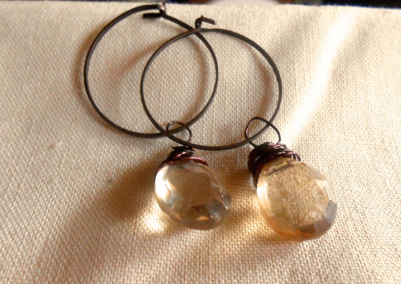 Apricot Quartz Pear Briolette Hoop Earrings - PLANETDIGS2