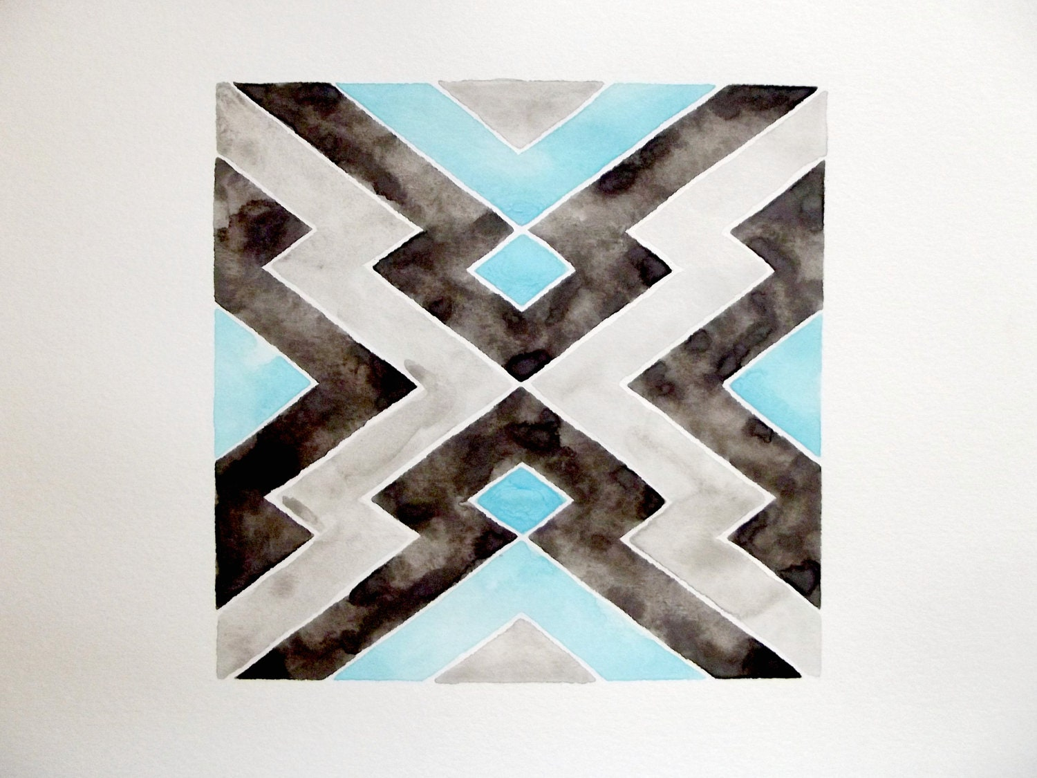 ORIGINAL WATERCOLOR - GEOMETRIC - Native American Pattern - Blue - Gray - Black - GeometricInk