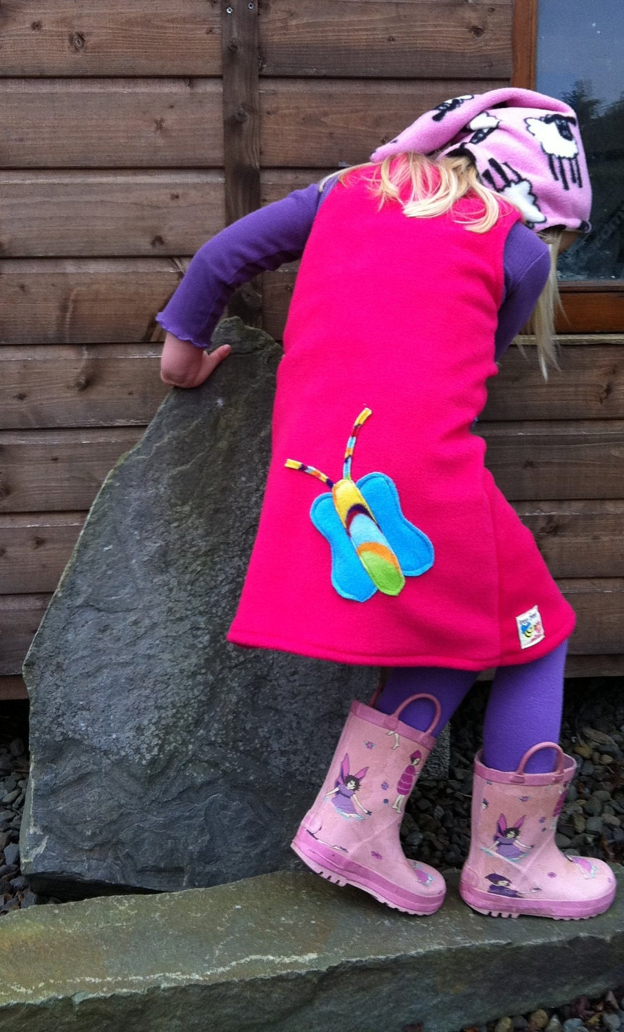 Age 1/2 & 3/4  Pink Fleece Flower Dress Available to Order
