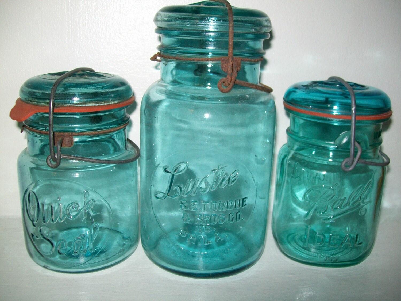 3 antique blue glass top mason jars ball by. Black Bedroom Furniture Sets. Home Design Ideas