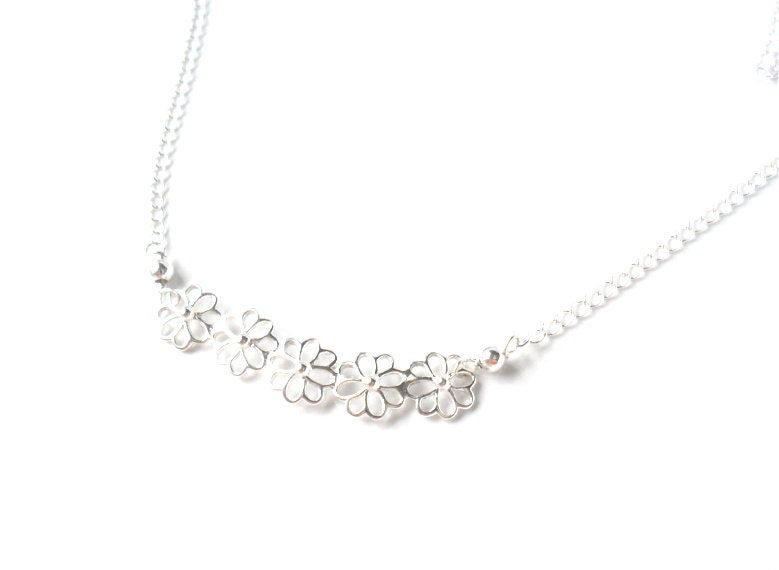 Delicate Sterling Silver Necklace  flowers bar simple minimal everyday necklace - Daniblu
