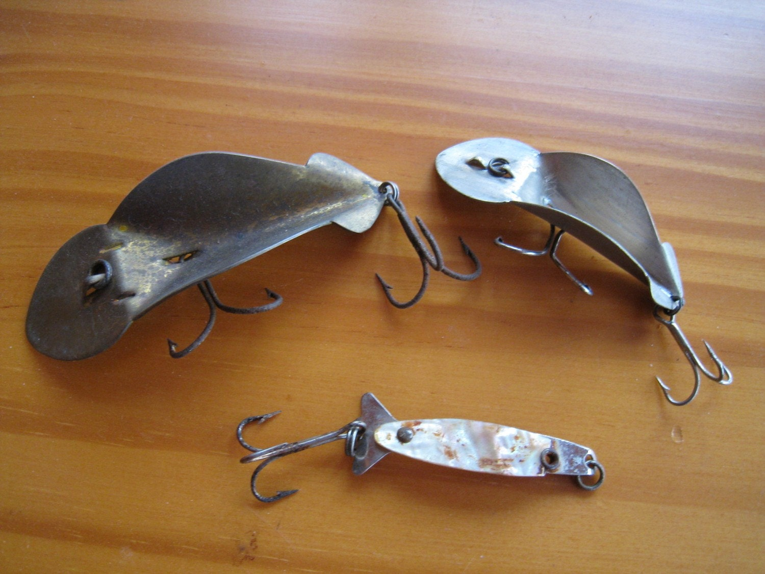 Three metal vintage fishing lures by rockislanddesigns on etsy for Old fishing lures worth money