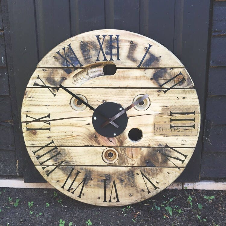 Upcycled cable drum vintage reworked wall clock wooden rustic chabby chic