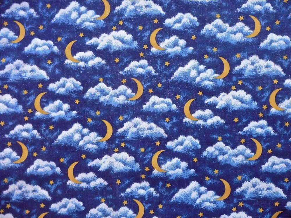 Moon stars and clouds on dark blue sparkle cotton by fragolina for Moon and stars fabric