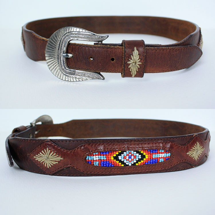 vintage 90s beaded brown leather belt by dreamingneon on etsy