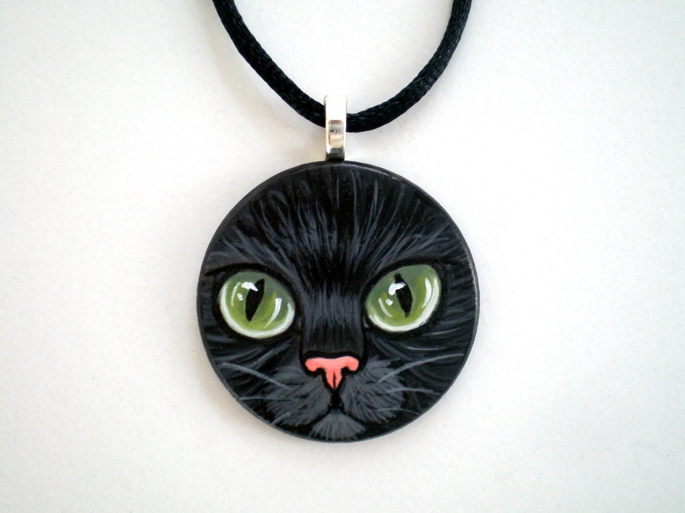Green Eyed  Black Cat  Necklace -Hand  Paint  Pendant  wooden art jewelry, gift for pet lovers - ShebboDesign