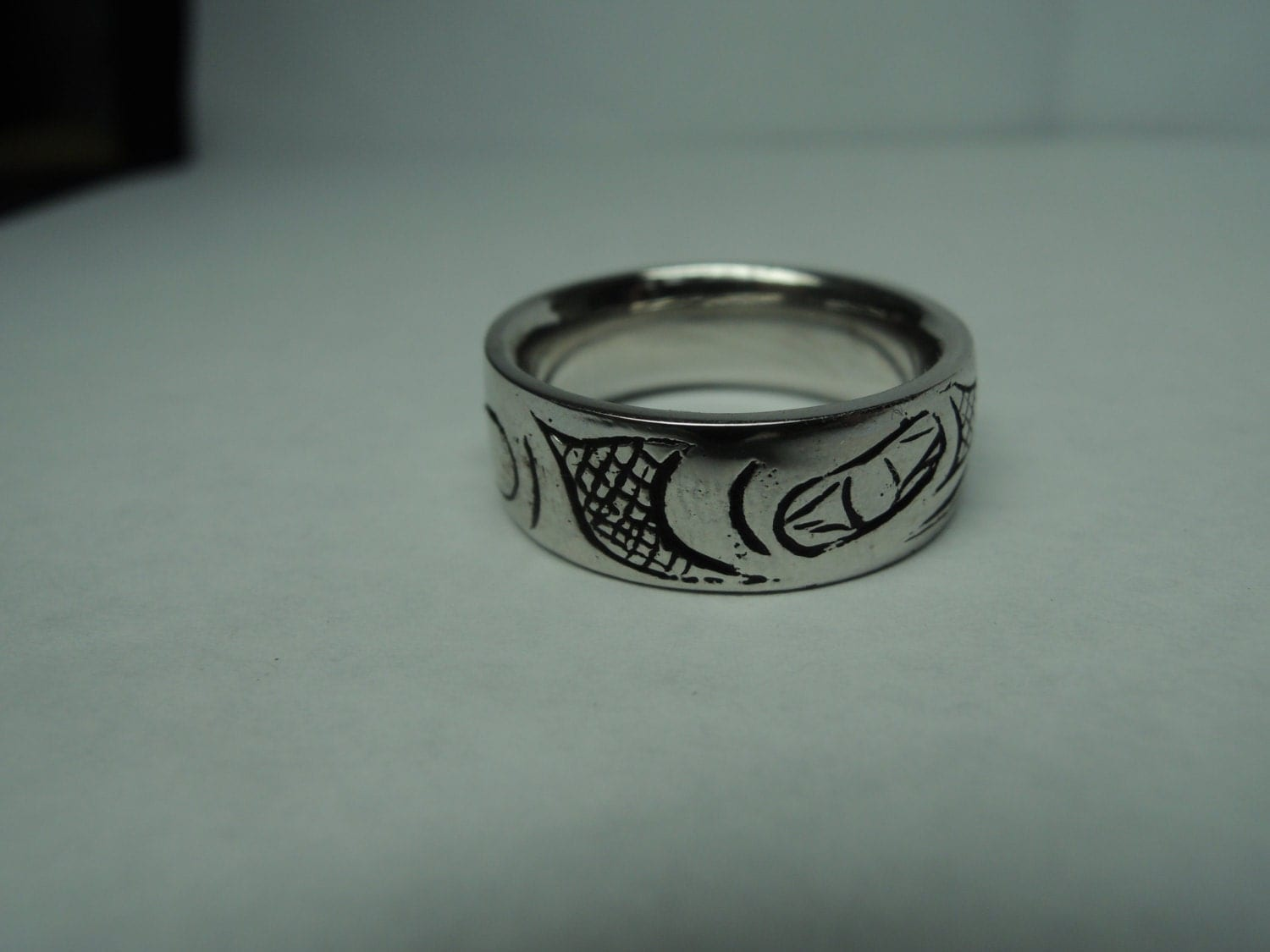 wolf wedding ring band 10kt yellow gold blueriver47 by