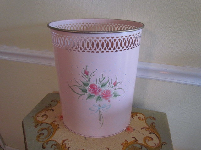 Antique Vintage Pink Tole Toleware Shabby Chic By