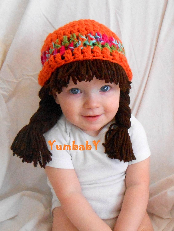 Baby Beanie Wig Beanie Pigtail Wig Orange Baby Hat - YumbabY