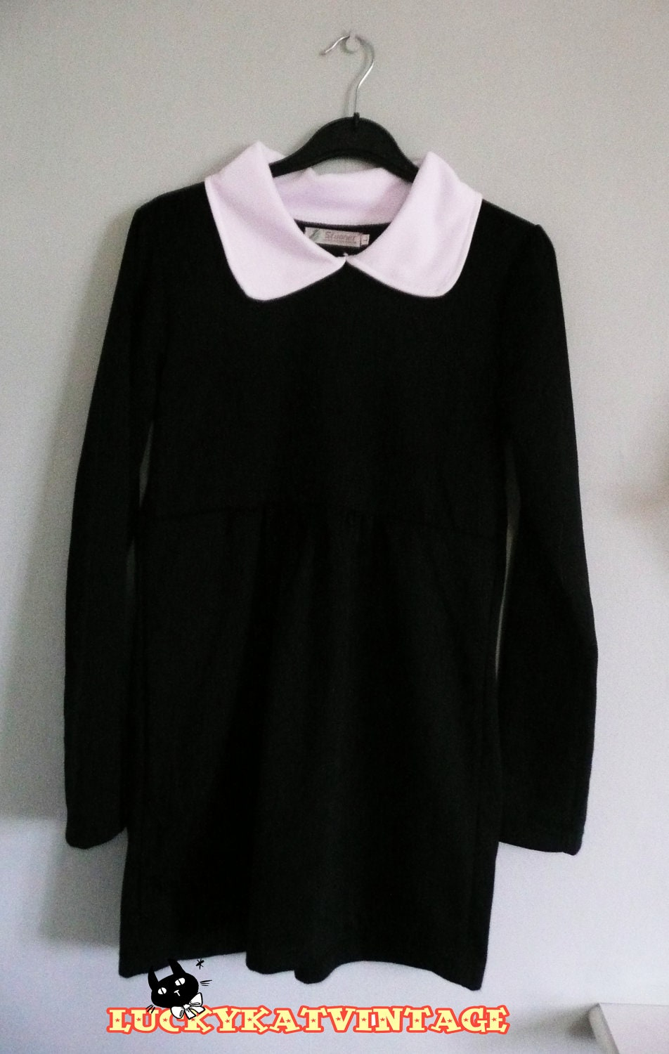 Black Wednesday Addams Style Dress White Peter by ...