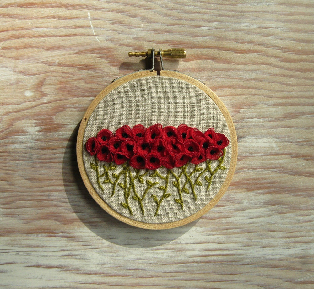 Red rose garden embroidery hoop art wall hanging by sidereal