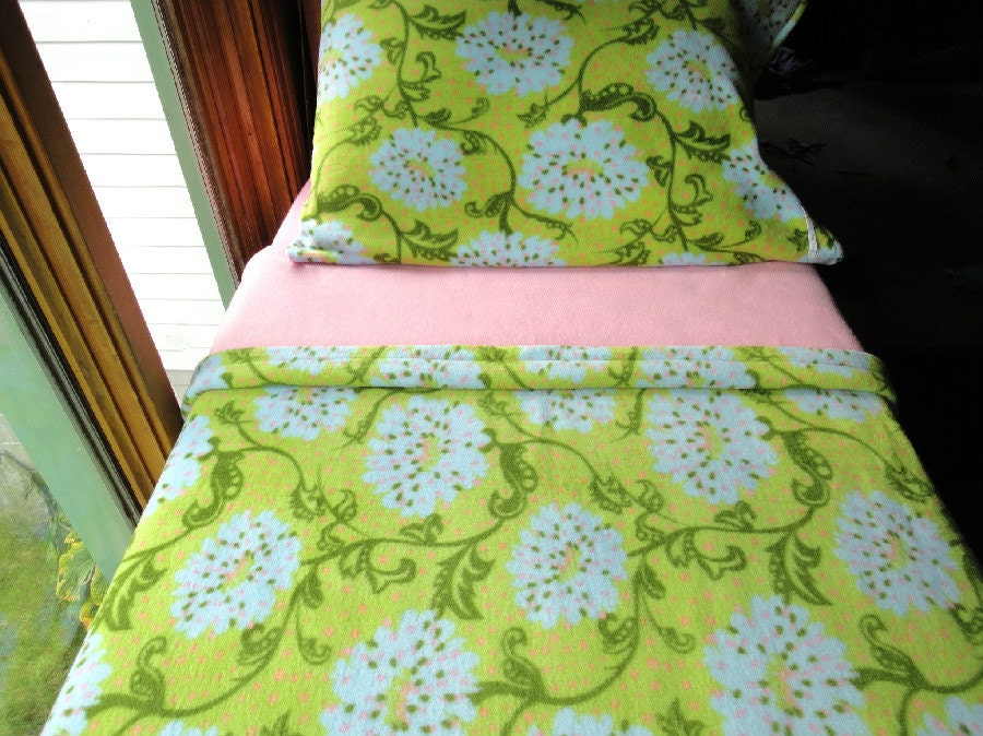 """Girls Bedding Set ''Pink and Green Floral Beauty"""" for Girls Handmade Fleece Bed Set Fits Crib and Toddler Beds"""