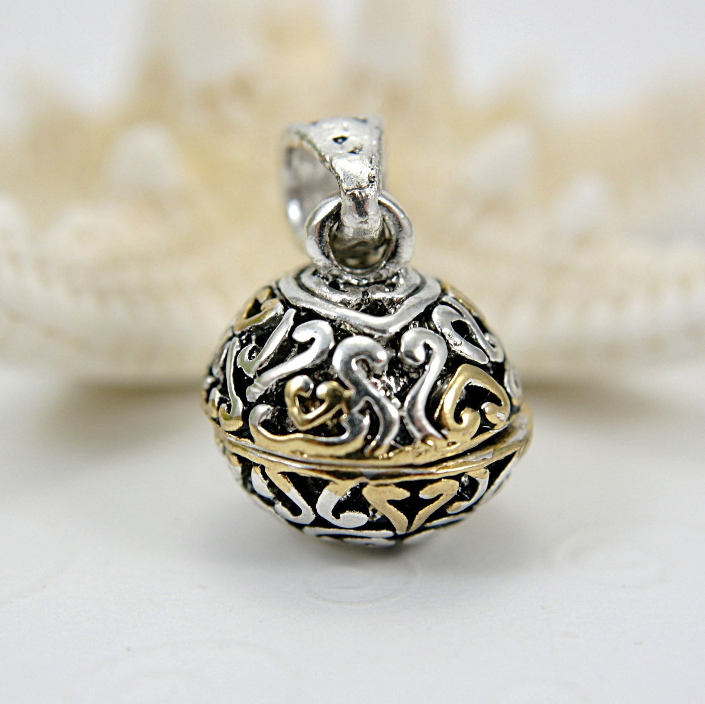 Prayer box sphere pendant ornament filigree silver gold tone - SueRunyonDesigns