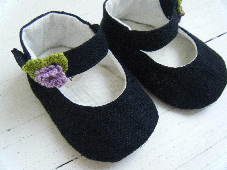 Черный органических Конопля Мэри Джейн обуви с лавандой цветов