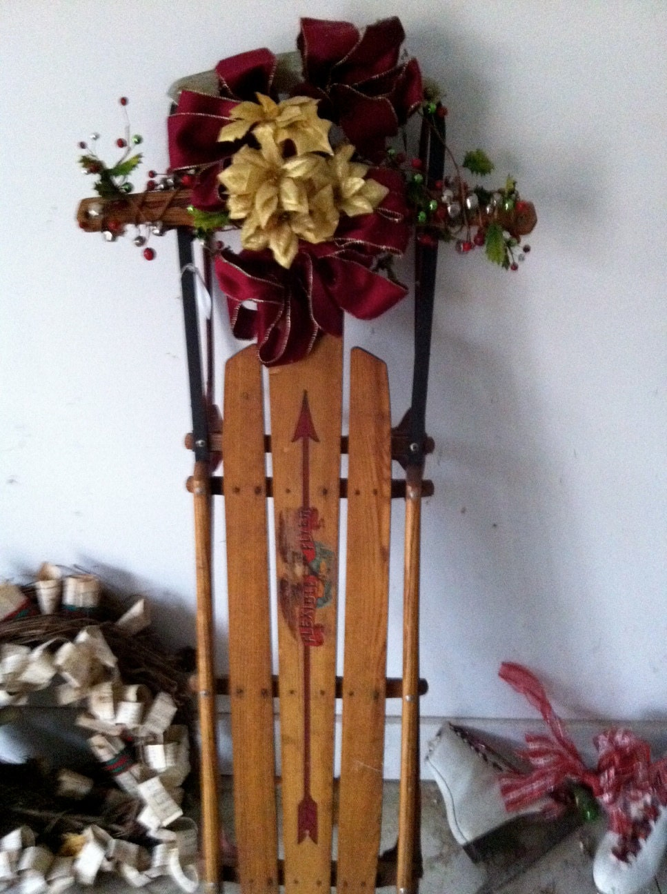 Sale christmas porch decor a decorated antique sled by for Antique sled decoration
