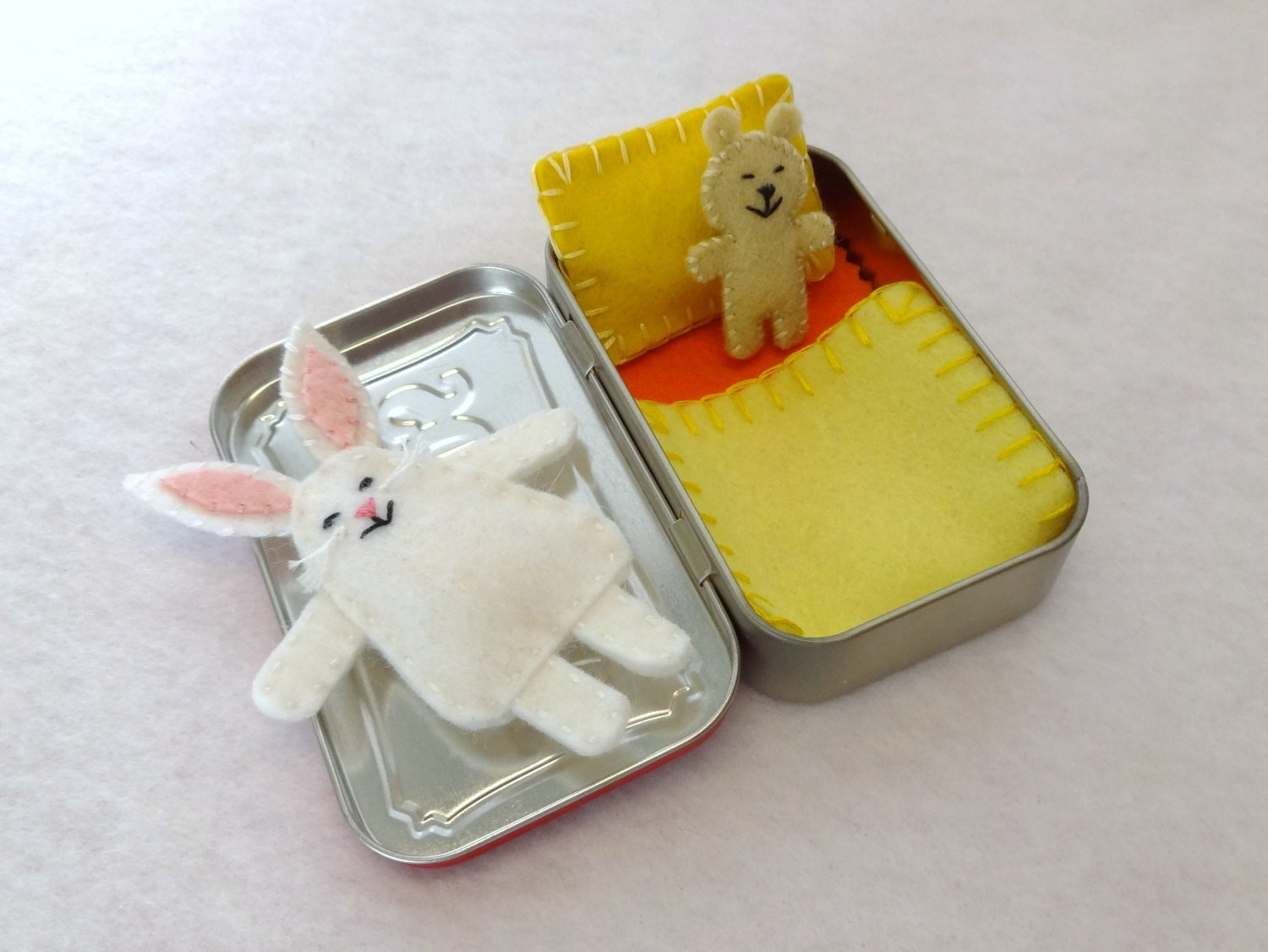 white Wee Bunny in Altoids Tin House with yellow and orange bedding - in stock and ready to ship - Y002 - EarthyMamaGoods