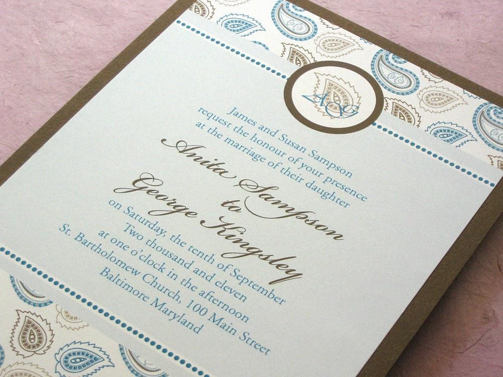 Monogram Indian Paisley Invitation Layered Wedding Set From ImbueYouIDo