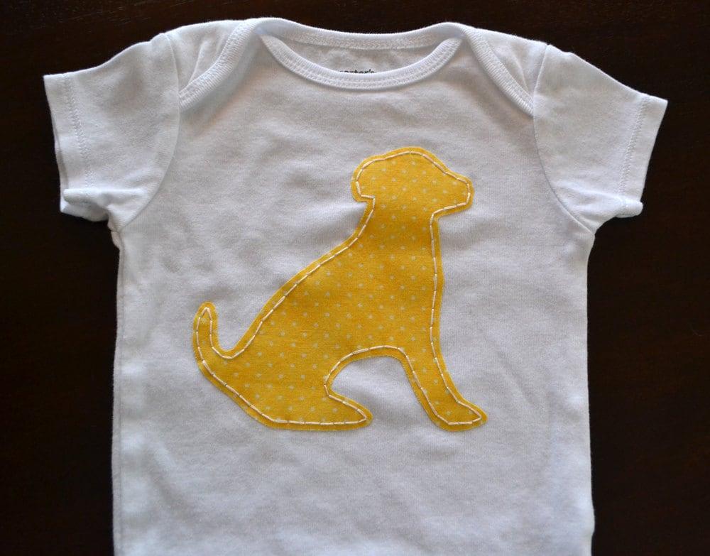 Yellow dog onesie or t-shirt - hounddogdesigns